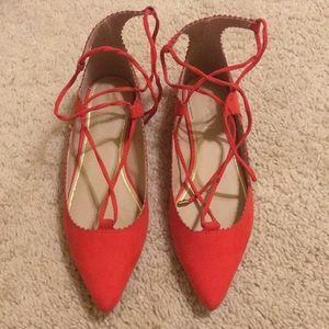 Topshop Ghillie red lace up pointy toe flats